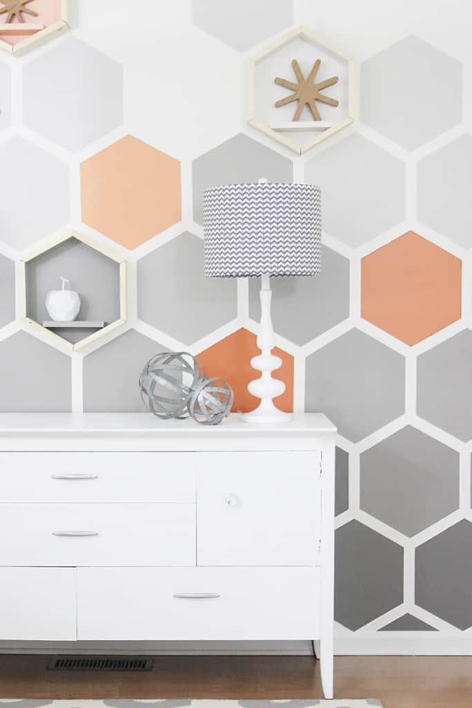 painted wall ideas Before and after geometric hexagon wall
