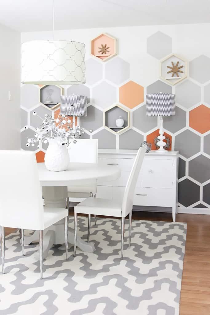 Hexagon wall with shelving