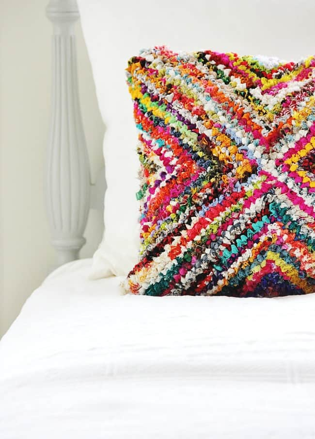 This pillow accent is made from a rug