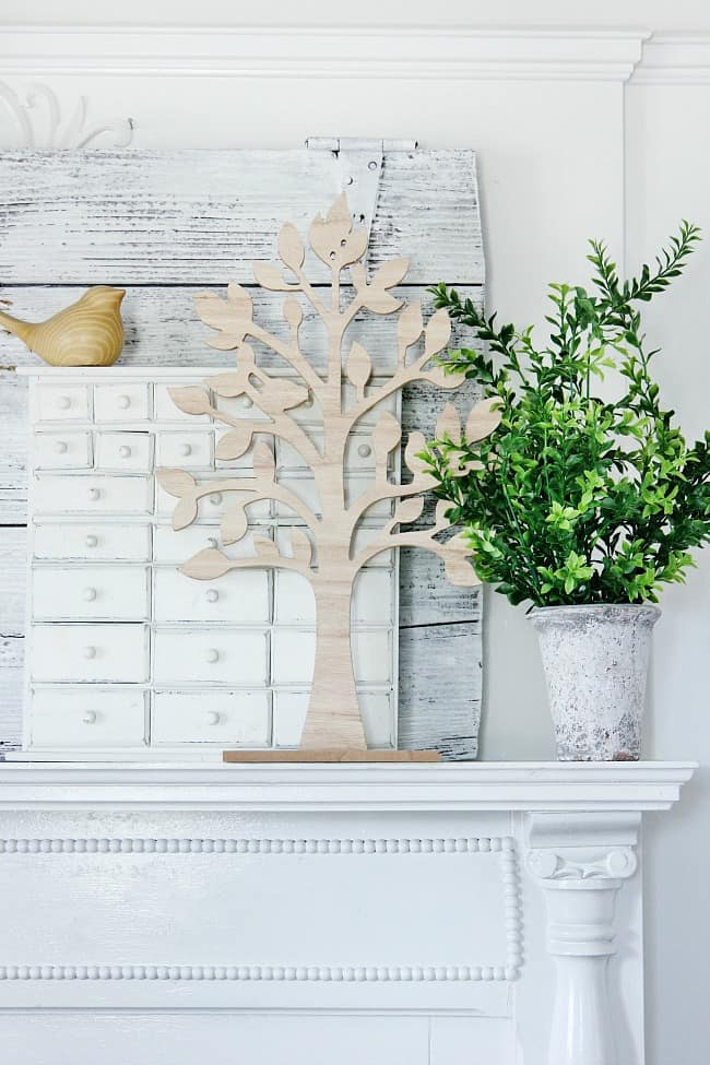 spring mantel ideas trees