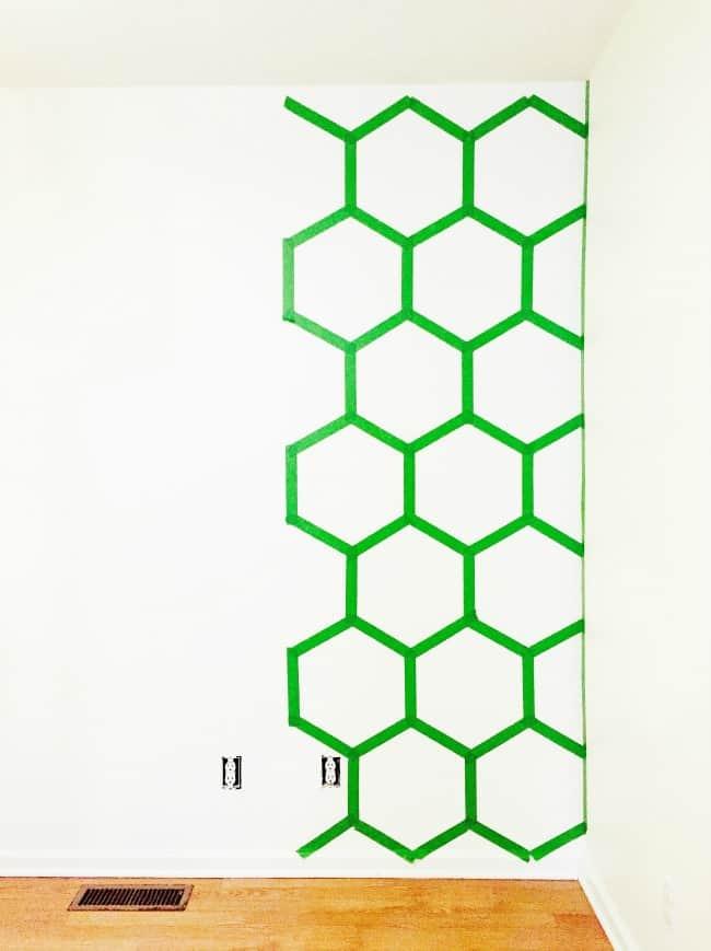 painted wall treatment ideas Hexagon Wall In Progress Picture