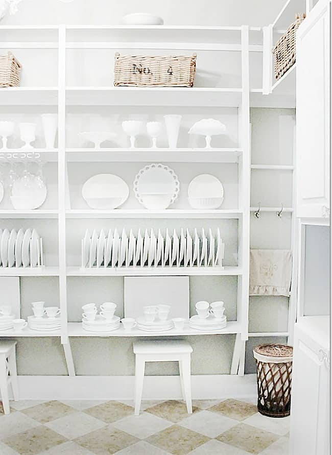 White dishes are a key find at a yard sale, and on my list of must get items.