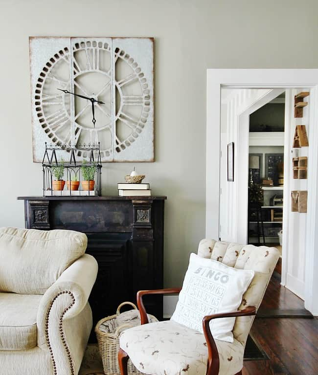 This farmhouse clock is a great accent piece in your room