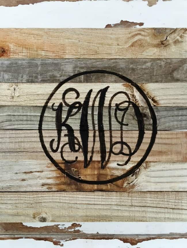 monogram sign reclaimed wood