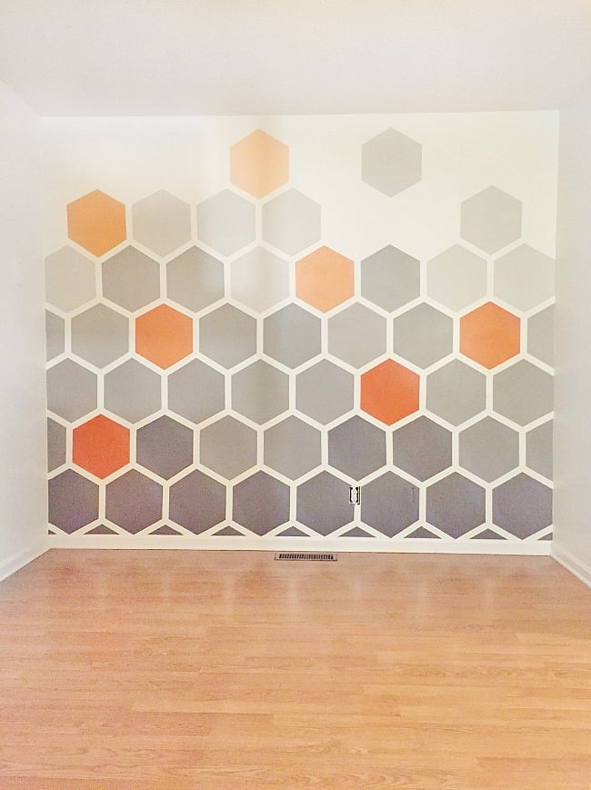 painted hexagon wall