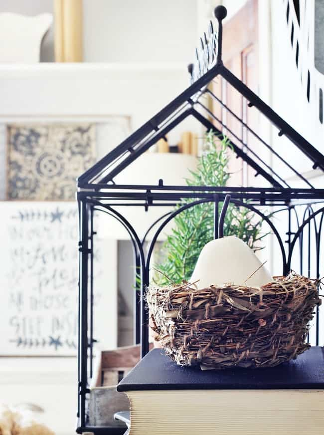 spring farmhouse decorating with nests
