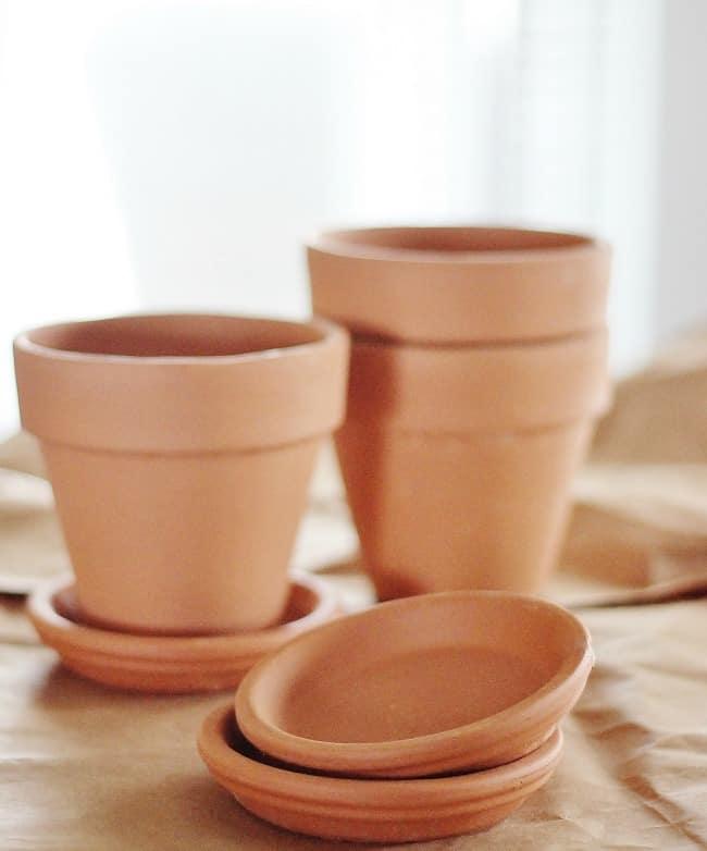 Herb garden clay pots project