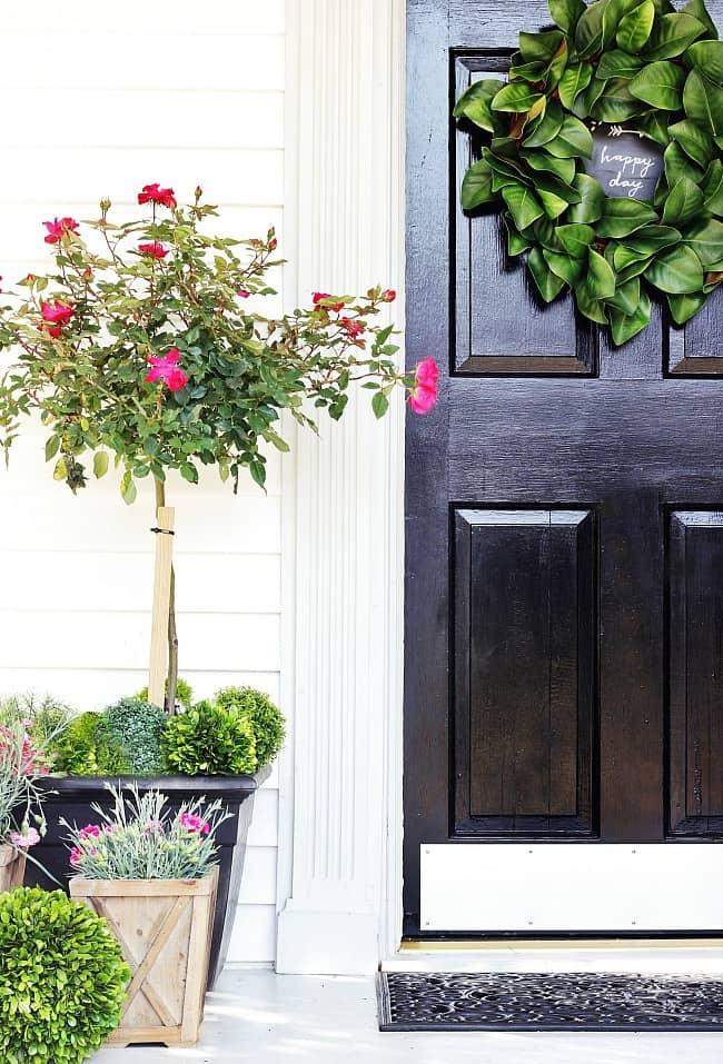 spring front door with planters