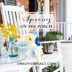 spring porch decor on sutton place