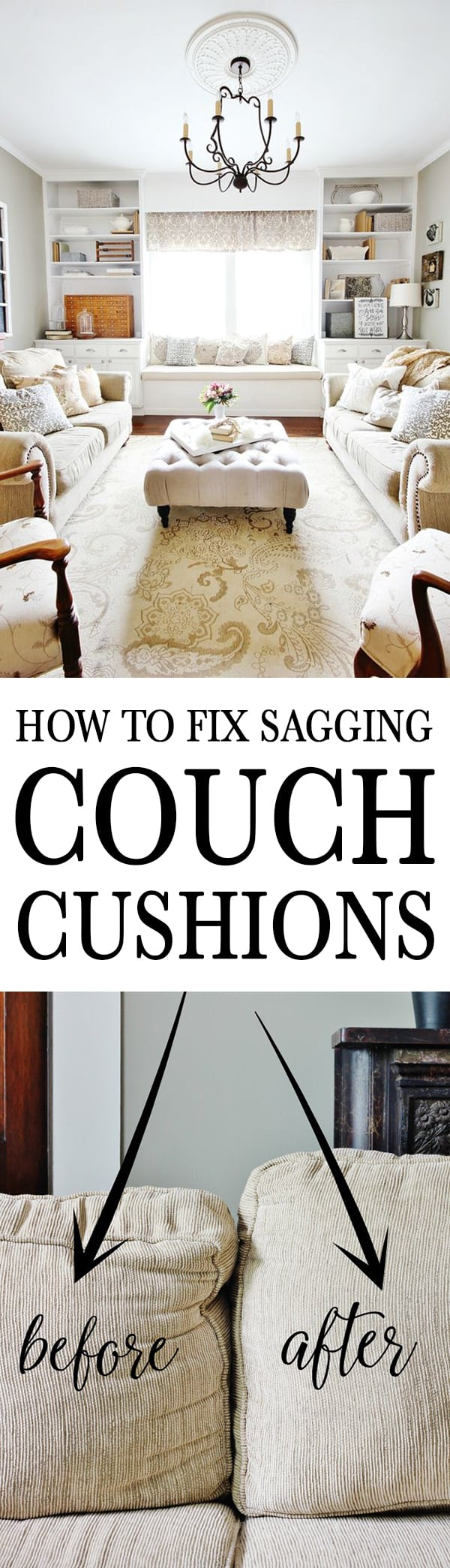 how to fix sagging couch cushions tutorial step-by-step
