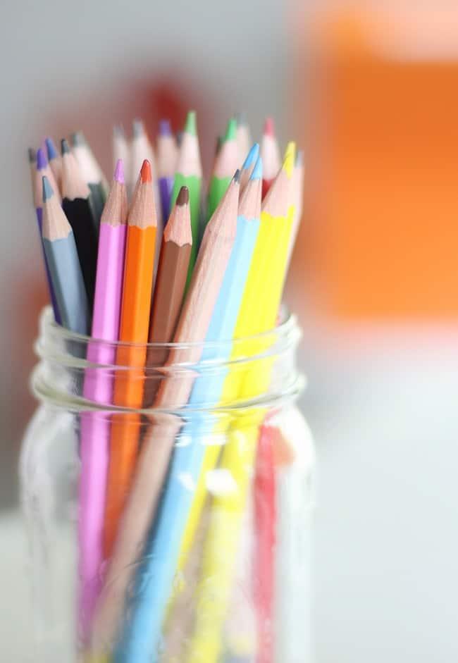 Jar of colored pencils