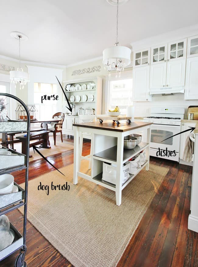 This farmhouse kitchen and dining room needs some tidying up.