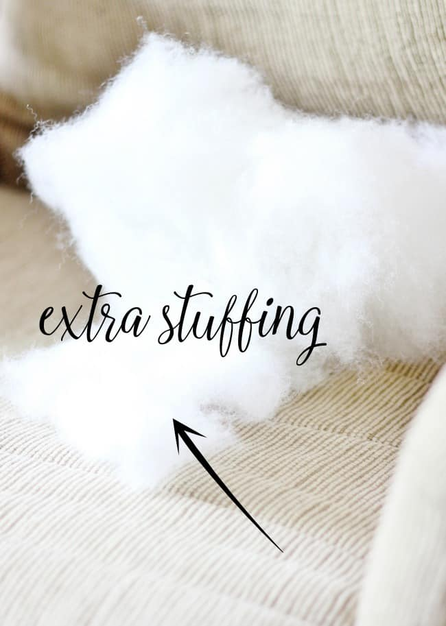 stuffing from a couch cushion replacing stuffing in a couch cushion