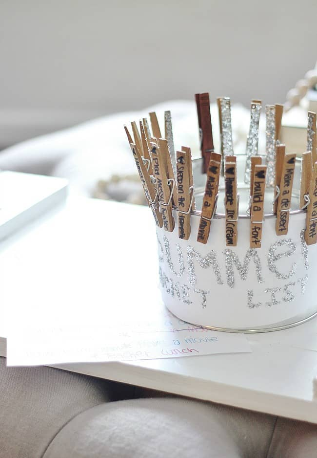 This summer bucket list made from clothespins and a real bucket is adorable.