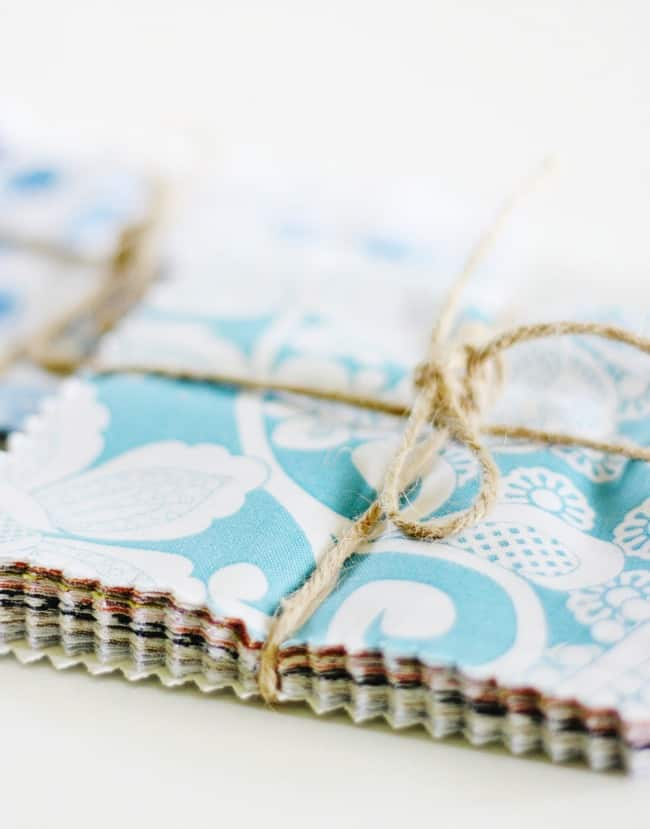 Charm packs are sample swatches of fabric cut into squares that can be used for all kinds of DIY projects