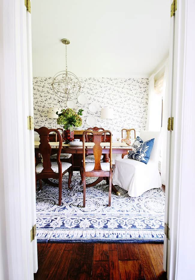 blue and white dining room refresh