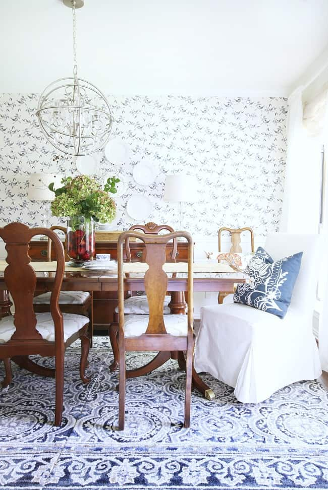 dining room blue and white