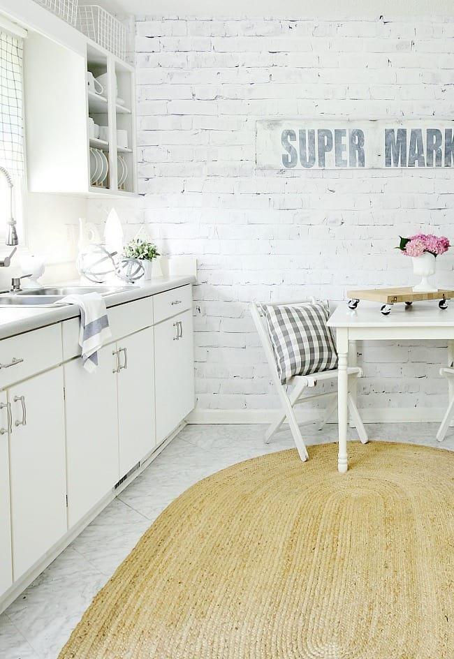 Farmhouse Kitchen Makeover With Faux Brick Wall Thistlewood Farm