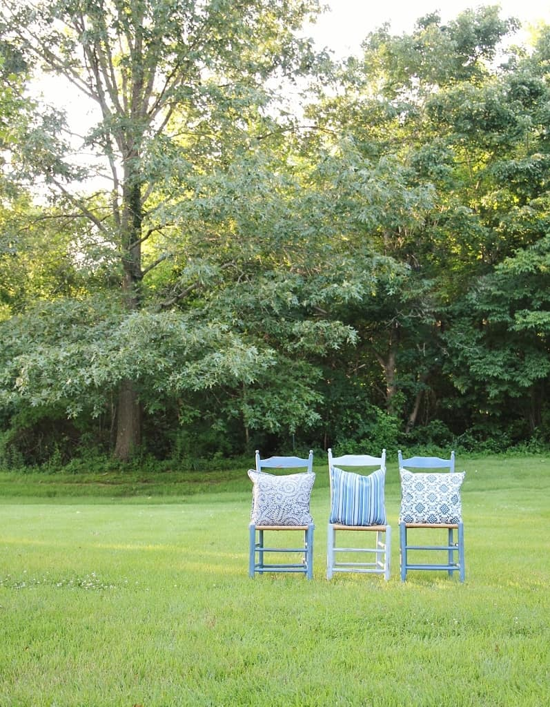 Blue Chairs in Meadow