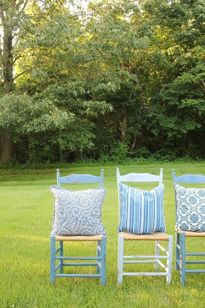 blue chairs found with best thrift store shopping tips