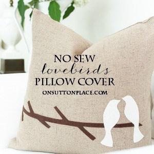 no sew lovebirds pillow cover diy