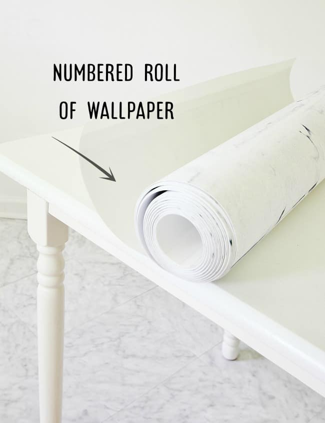 numbered roll of wallpaper