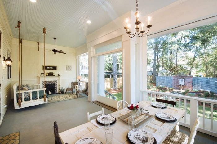 Interior of back screened porch after renovation