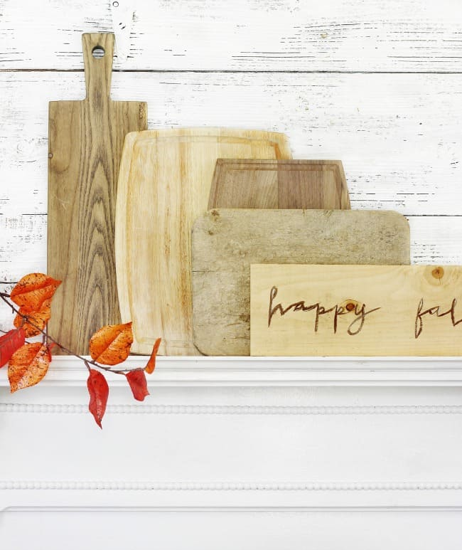 happy fall mantel