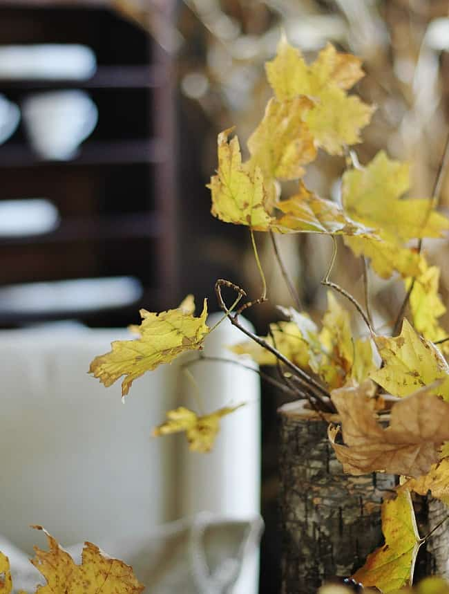 These fall leaf center pieces are an unexpected decoration.