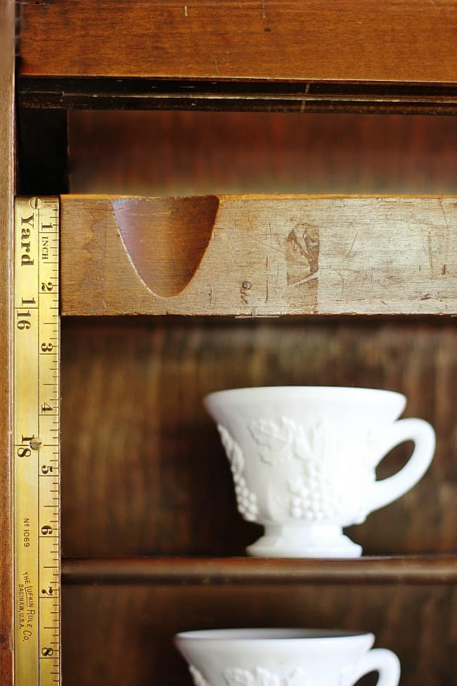 These vintage wooden shelves original used to house fabric bolts are great for storage.