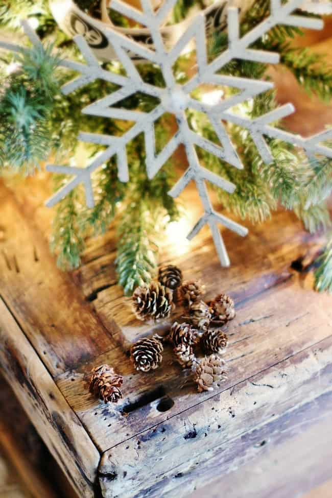 fall decor to Christmas snowflake