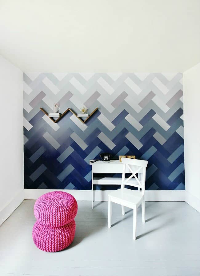 Ombre herringbone wall- after