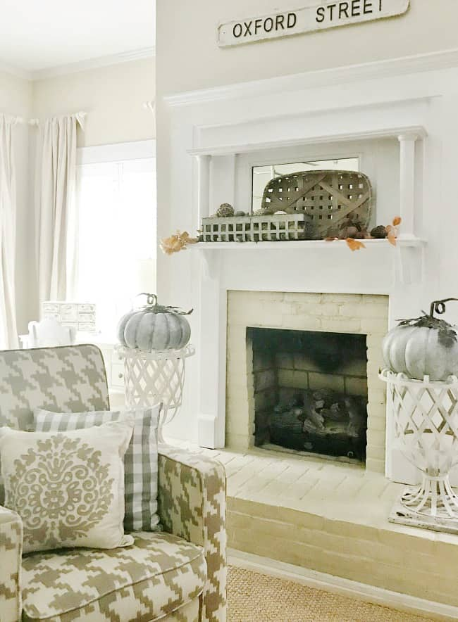 Baskets and pumpkins are great accents for fall