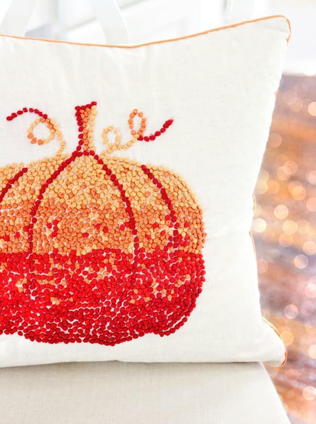 This adorable pumpkin pillow is a great accent piece