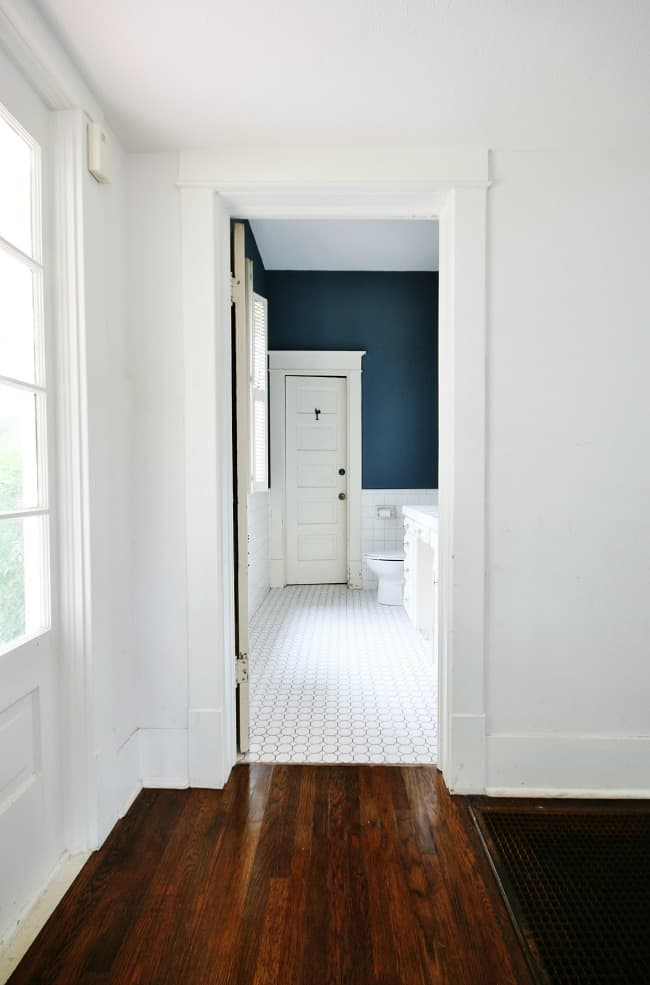 A look into the bathroom from across the hall
