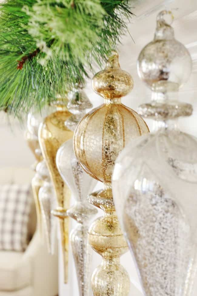 Simple gold and silver glass displayed for the holidays
