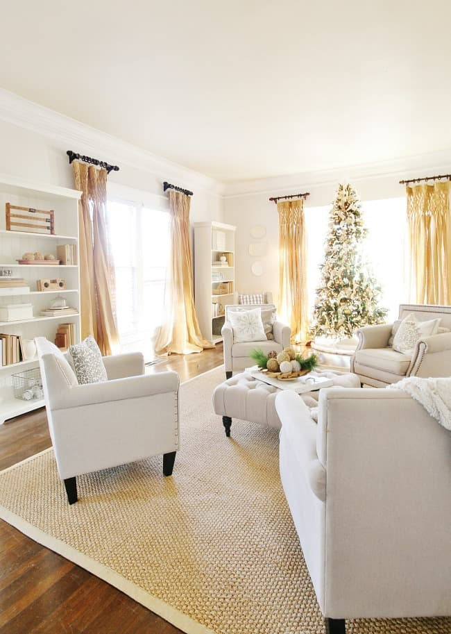 Living room elegantly decorated for Christmas