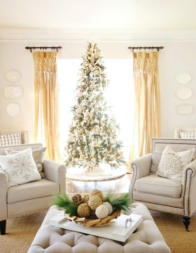 This stunning tree is simple with a neutral palatte