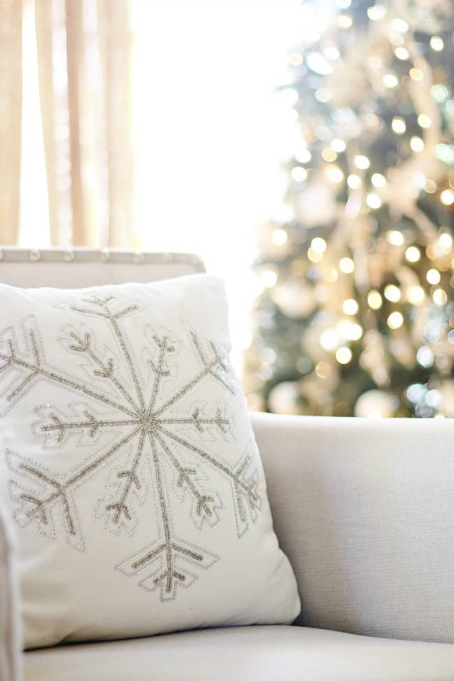 fall decor to Christmas snowflake pillow