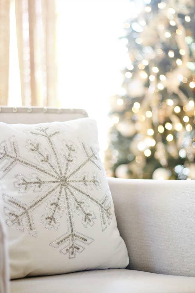 fall decor to Christmas snowflake pillow