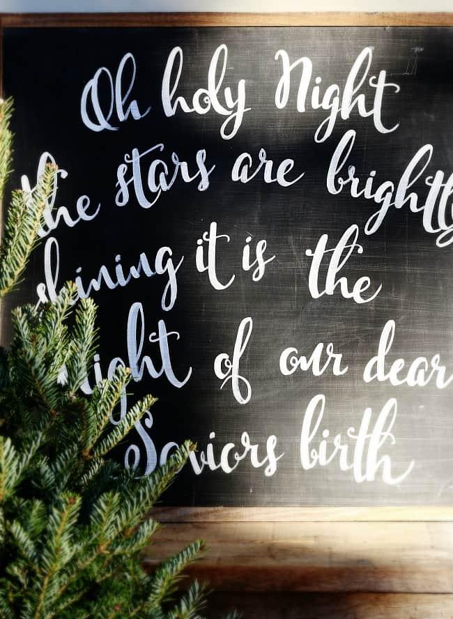 Christmas wall decor on a black chalkboard wall