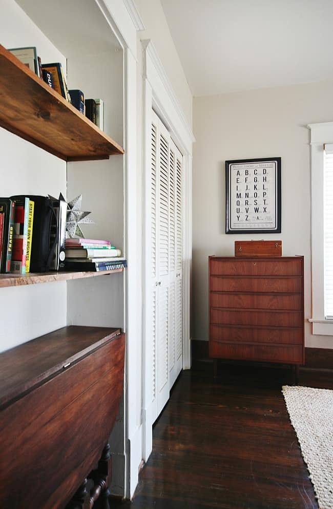 Closet and built in bookcase