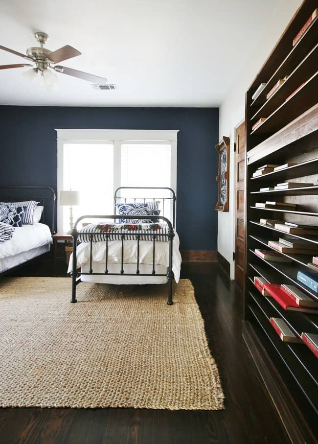 The completed navy and white bedroom