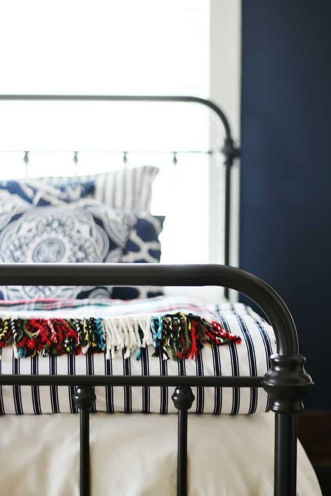 Navy and white bed