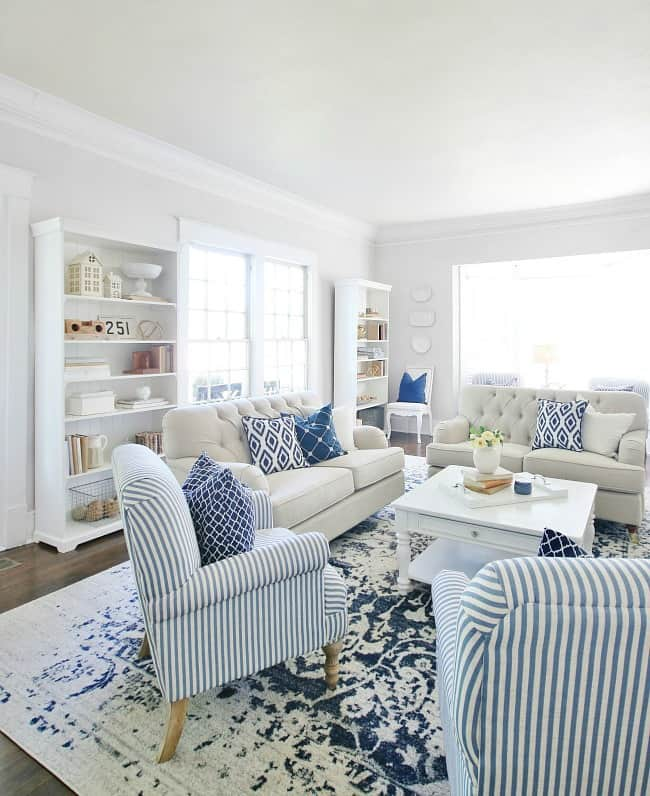 blue and white decor striped chairs