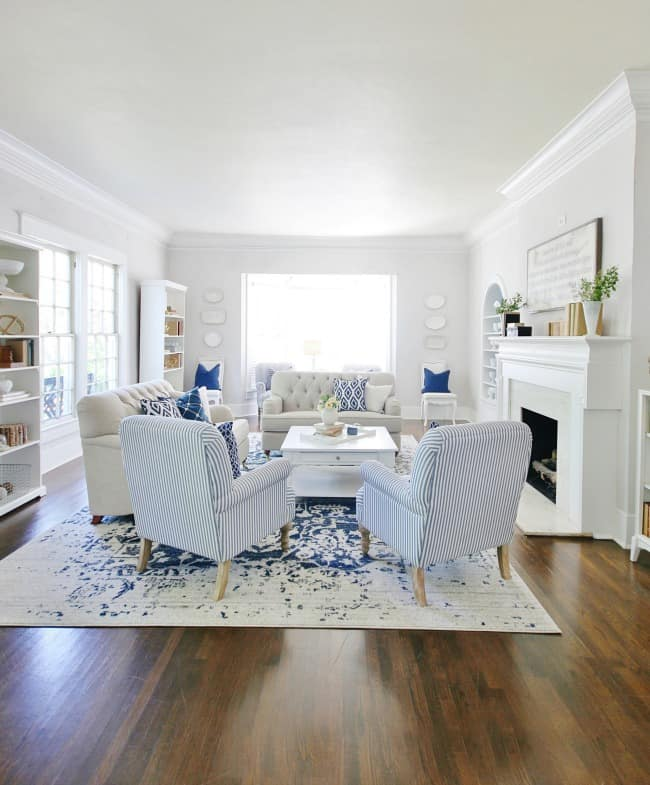 blue and white decor in the front room