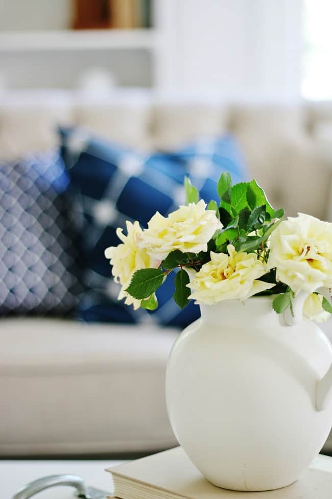 blue and white decor flowers