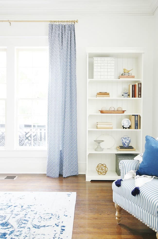 easiest way to line curtains full length blue and white curtains