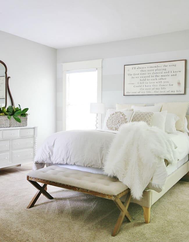 gray and white farmhouse bedroom