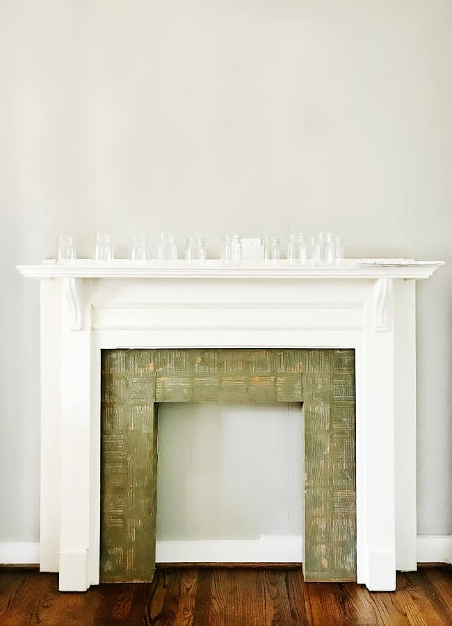 faux fireplace surround before